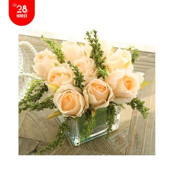 玫瑰玻璃方樽 整体花艺(淡橘色款)